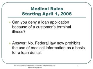 Medical Rules  Starting April 1, 2006