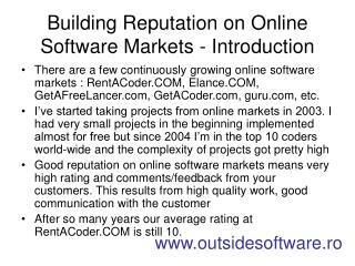 Building Reputation on Online Software Markets - Introduction