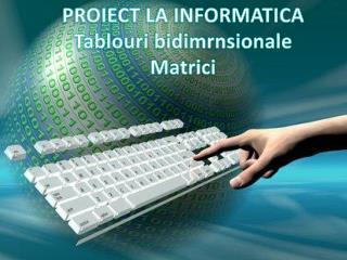 PROIECT LA INFORMATICA Tablouri bidimrnsionale Matrici