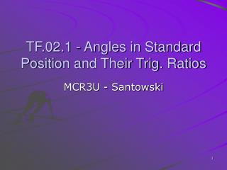 TF.02.1 - Angles in Standard Position and Their Trig. Ratios