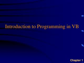 Introduction to Programming in VB