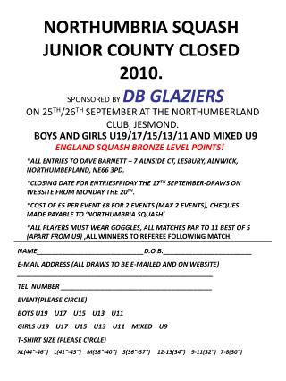 NORTHUMBRIA SQUASH JUNIOR COUNTY CLOSED 2010.