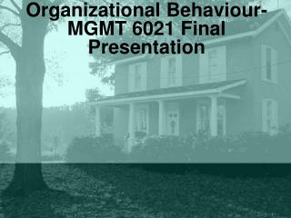 Organizational Behaviour- MGMT 6021 Final Presentation