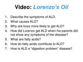 Video:  Lorenzo's Oil