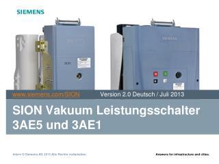 SION Vakuum Leistungsschalter 3AE5 und 3AE1