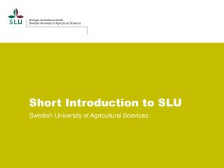 Short  Introduction to  SLU