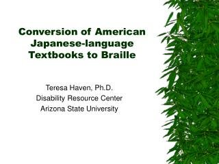Conversion of American Japanese-language Textbooks to Braille