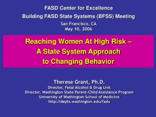 Reaching Women At High Risk    A State System Approach  to Changing Behavior
