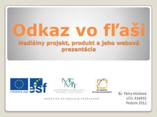Odkaz vo fľaši Mediálny projekt, produkt a jeho webová prezentácia