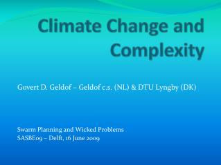 Climate Change  and  Complexity