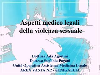 Dott.ssa Ada Agostini Dott.ssa Stefania Pagani Unità Operativa Assistenza Medicina Legale