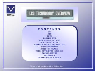 LCD  TECHNOLOGY  OVERVIEW