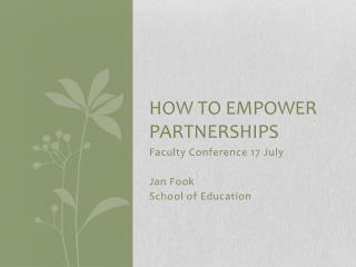 How to empower partnerships