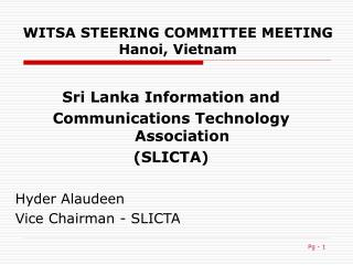 WITSA STEERING COMMITTEE MEETING Hanoi, Vietnam