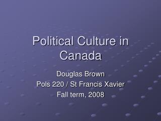 Political Culture in Canada