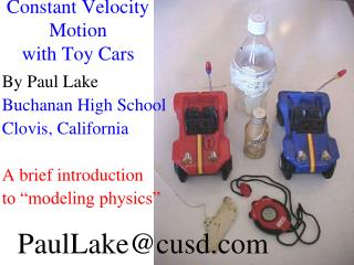 Constant Velocity Motion with Toy Cars