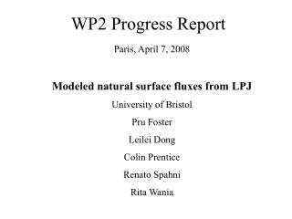 WP2 Progress Report