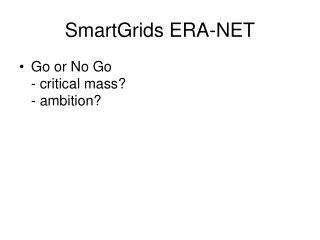 SmartGrids ERA-NET