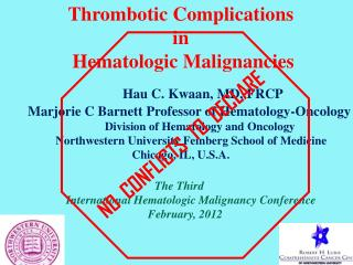 Thrombotic Complications  in  Hematologic Malignancies