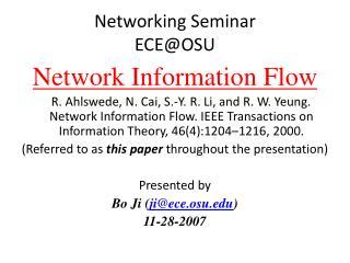 Networking Seminar  ECE@OSU