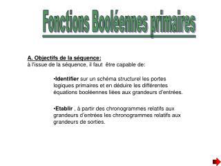 Fonctions Booléennes primaires