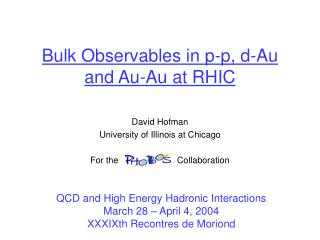 Bulk Observables in p-p, d-Au and Au-Au at RHIC