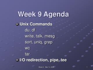 Week 9 Agenda