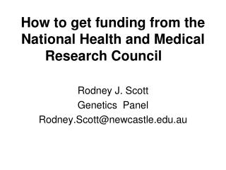 How to get funding from the National Health and Medical Research Council