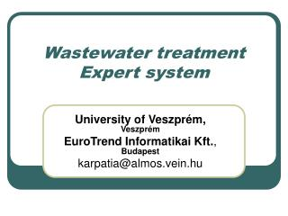 Wastewater treatment Expert system