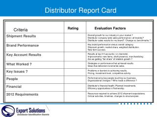 Distributor Report Card