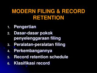 MODERN FILING & RECORD RETENTION