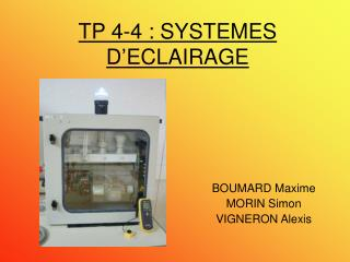 TP 4-4 : SYSTEMES D�ECLAIRAGE