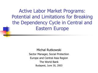 Michal Rutkowski Sector Manager, Social Protection Europe and Central Asia Region The World Bank
