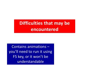 Difficulties that may be encountered