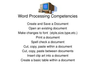 Word Processing Competencies