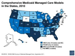 Comprehensive  Medicaid Managed Care Models in the States, 2010