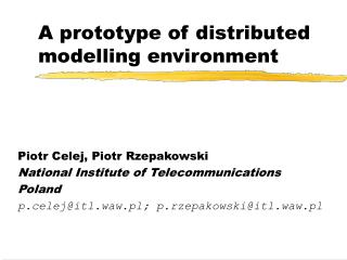 A prototype of distributed modelling environment