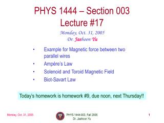 PHYS 1444 – Section 003 Lecture #17