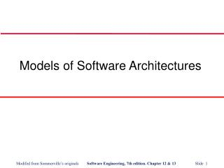 Models of Software Architectures