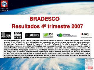 Resultados 4º trimestre 2007
