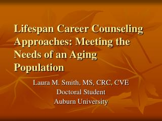 Lifespan Career Counseling Approaches: Meeting the Needs of an Aging Population