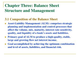 Chapter Three: Balance Sheet Structure and Management