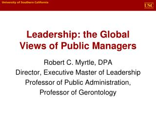 Leadership: the Global Views of Public Managers