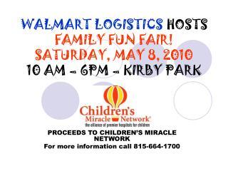 WALMART LOGISTICS  HOSTS  FAMILY FUN FAIR! SATURDAY, MAY 8, 2010 10 AM – 6PM – KIRBY PARK