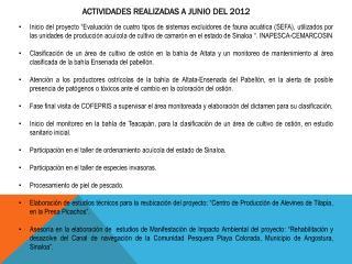 ACTIVIDADES REALIZADAS A JUNIO DEL 2012