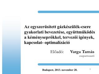 Előadó: Varga Tamás csoportvezető