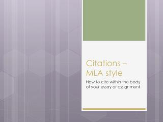 Citations – MLA style