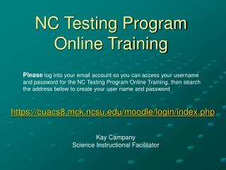 NC Testing Program  Online Training