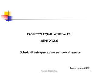 PROGETTO EQUAL WEBFEM IT: MENTORING
