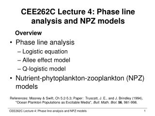 CEE262C Lecture 4: Phase line analysis and NPZ models